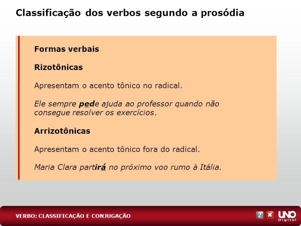 Classificação dos verbos segundo a prosódia