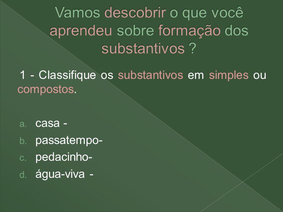 Vamos descobrir o que você aprendeu sobre formação dos substantivos