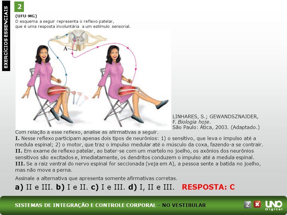 a) II e III. b) I e II. c) I e III. d) I, II e III. RESPOSTA: C