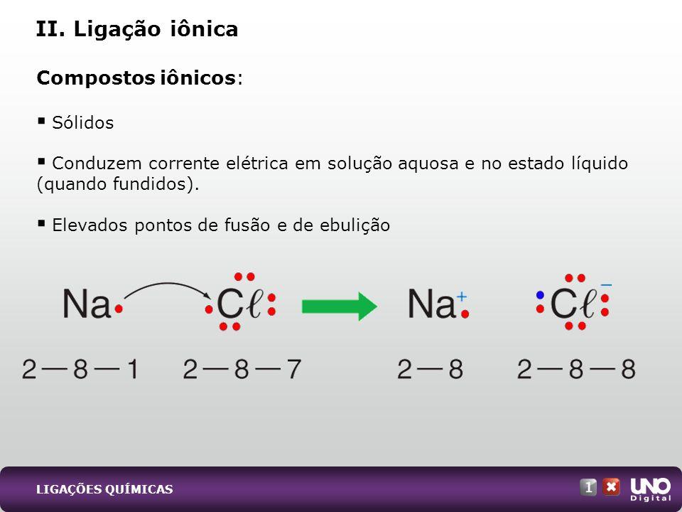 II. Ligação iônica Compostos iônicos: Sólidos