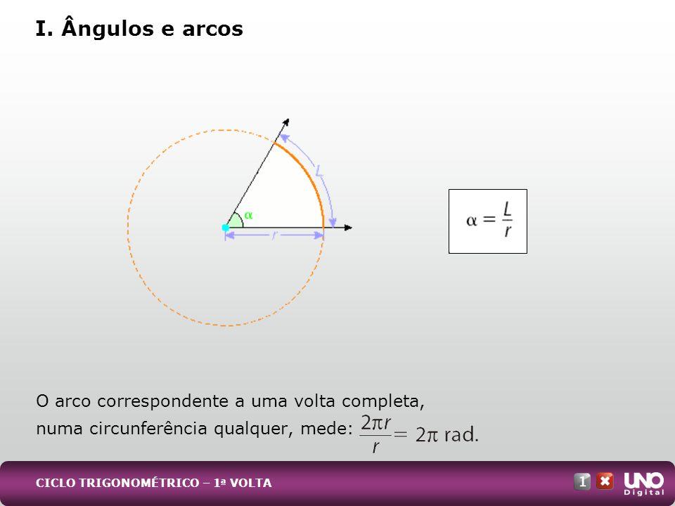Mat-cad-1-top-7 – 3 Prova I. Ângulos e arcos. O arco correspondente a uma volta completa, numa circunferência qualquer, mede: