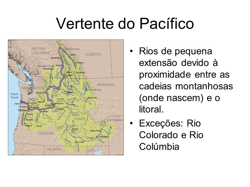 Vertente do Pacífico Rios de pequena extensão devido à proximidade entre as cadeias montanhosas (onde nascem) e o litoral.