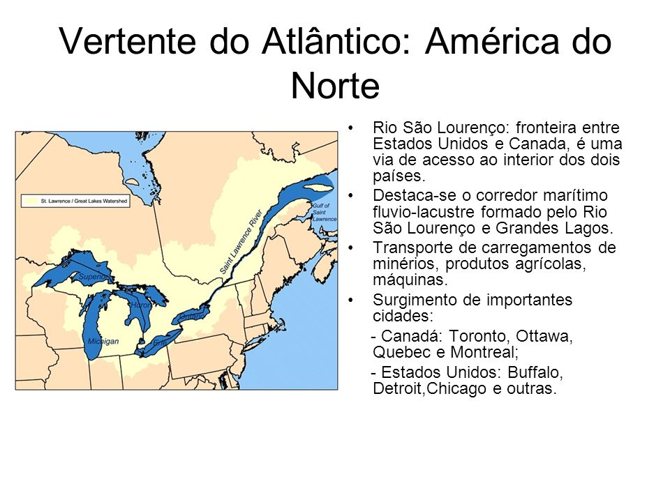 Vertente do Atlântico: América do Norte