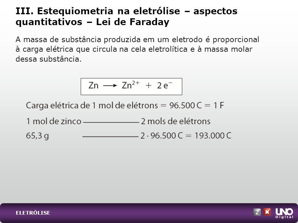 Qui-cad-2-top-2 – 3 Prova III. Estequiometria na eletrólise – aspectos quantitativos – Lei de Faraday.