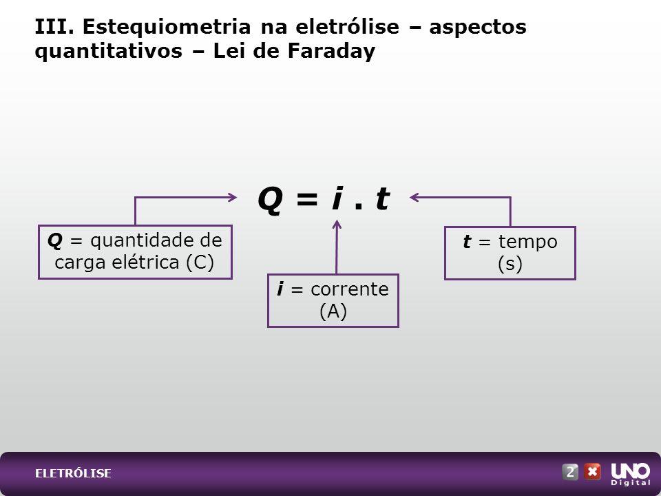 Q = quantidade de carga elétrica (C)