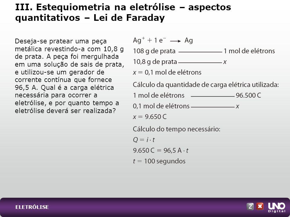 Qui-cad-2-top-2 – 3 ProvaIII. Estequiometria na eletrólise – aspectos quantitativos – Lei de Faraday.