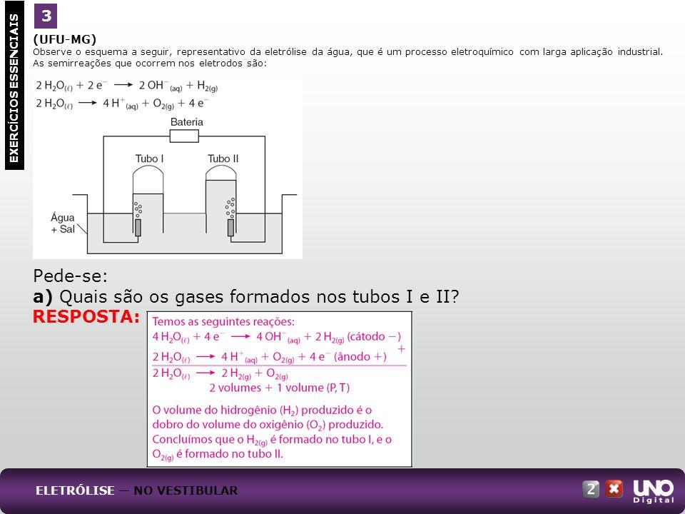 a) Quais são os gases formados nos tubos I e II
