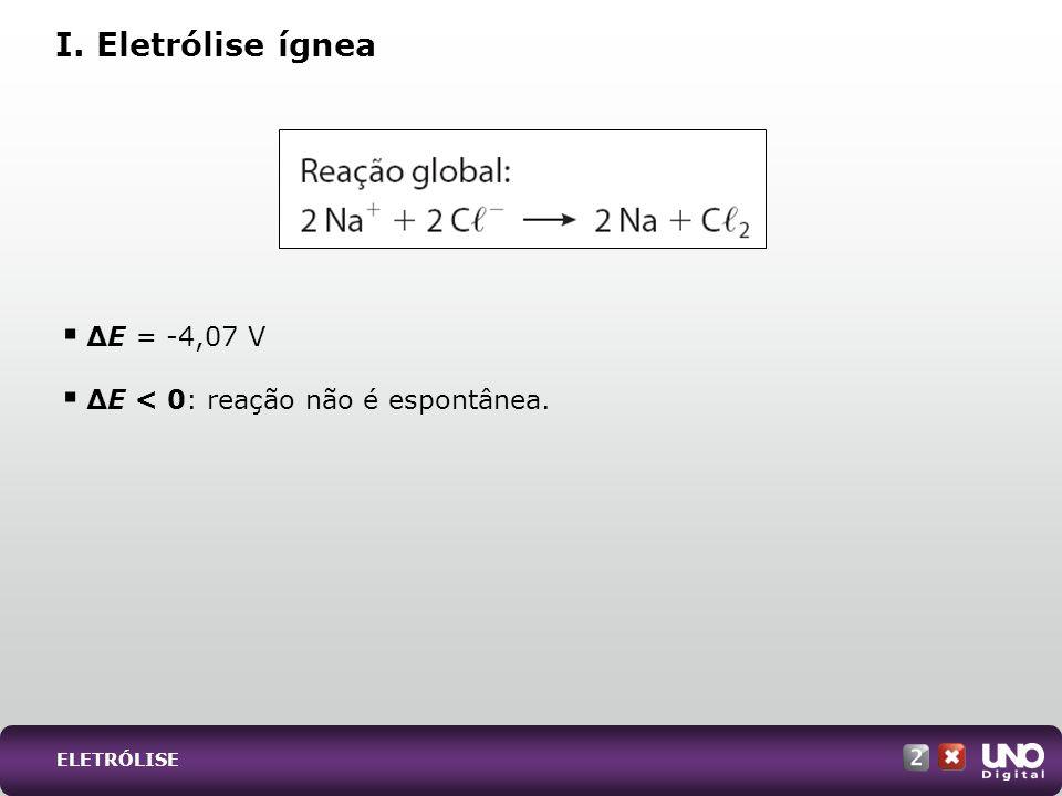 I. Eletrólise ígnea ∆E = -4,07 V ∆E < 0: reação não é espontânea.