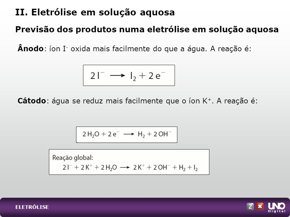 II. Eletrólise em solução aquosa