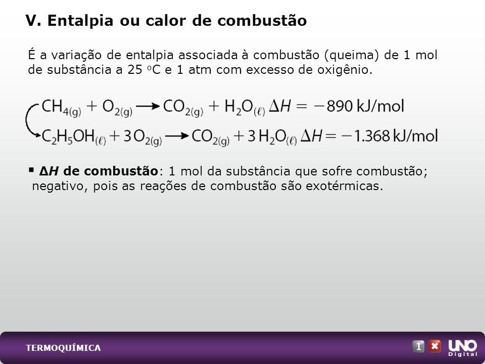 V. Entalpia ou calor de combustão