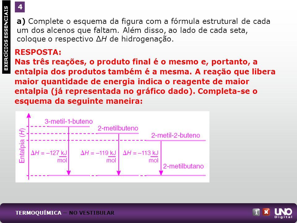 a) Complete o esquema da figura com a fórmula estrutural de cada