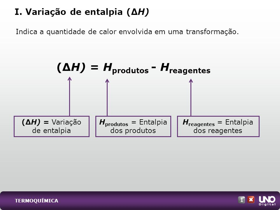 I. Variação de entalpia (∆H)