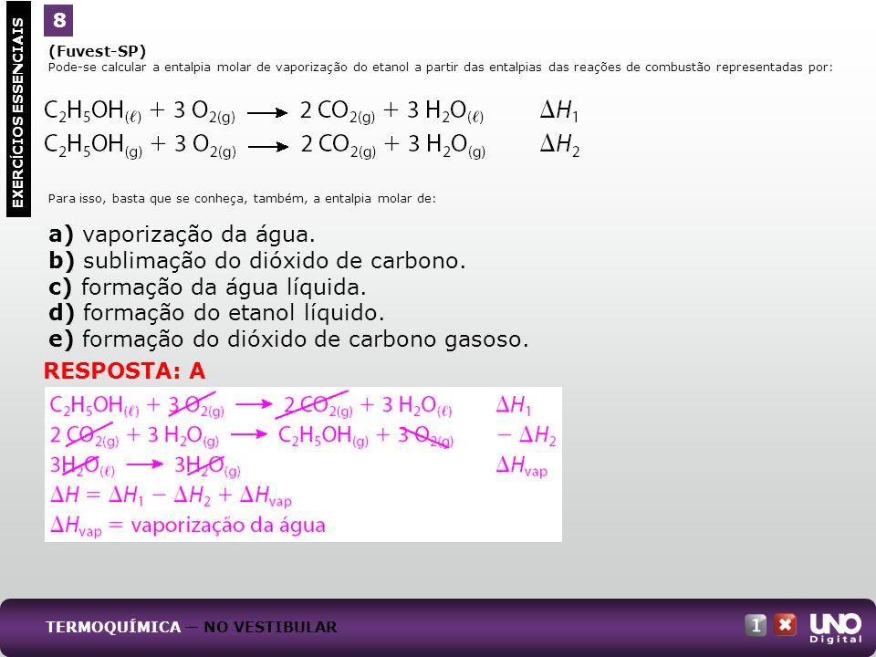 b) sublimação do dióxido de carbono. c) formação da água líquida.