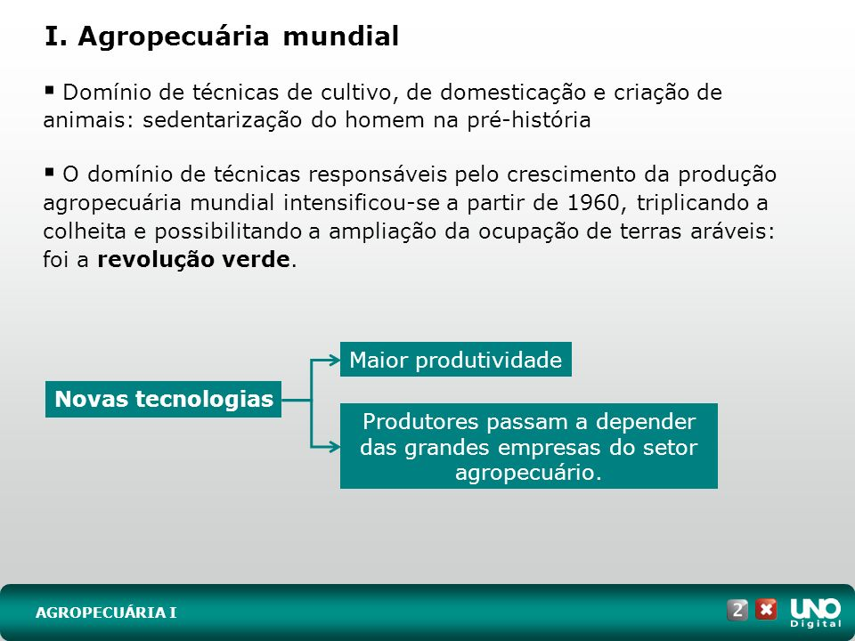 I. Agropecuária mundial