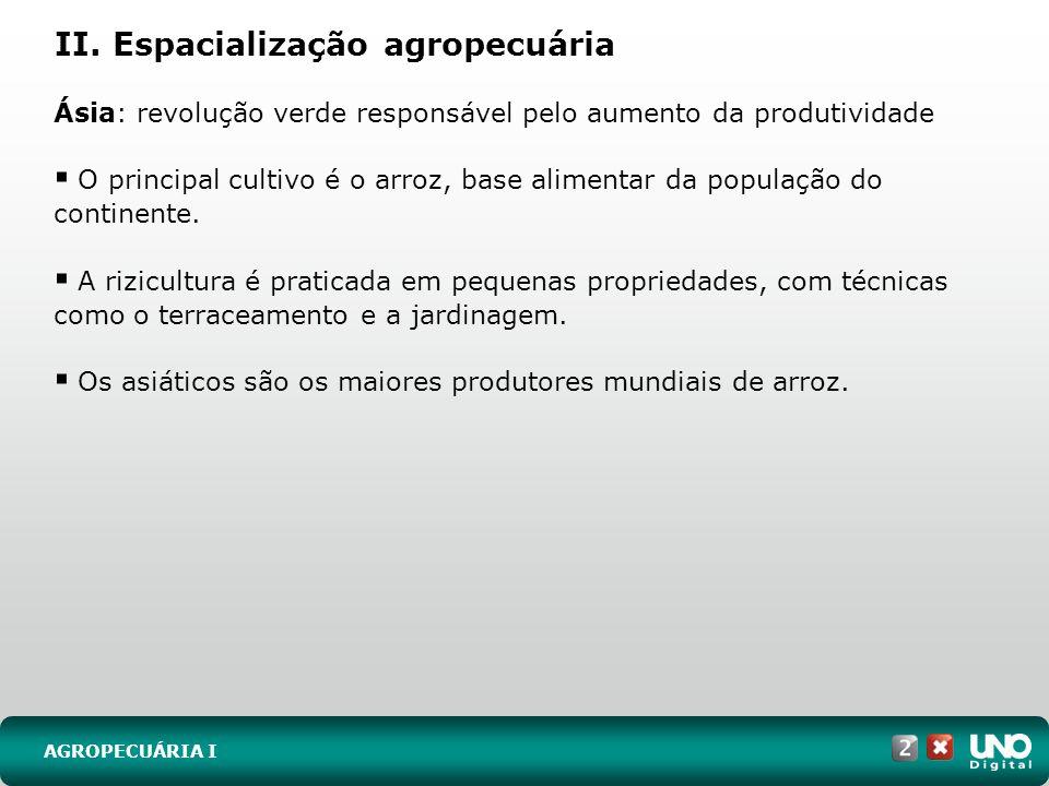 II. Espacialização agropecuária