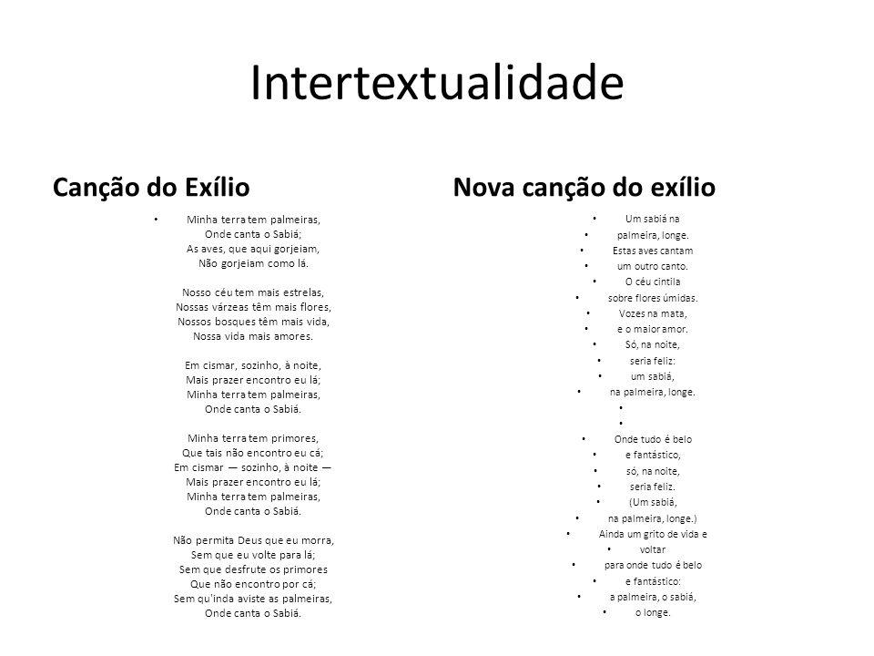Intertextualidade Canção do Exílio Nova canção do exílio