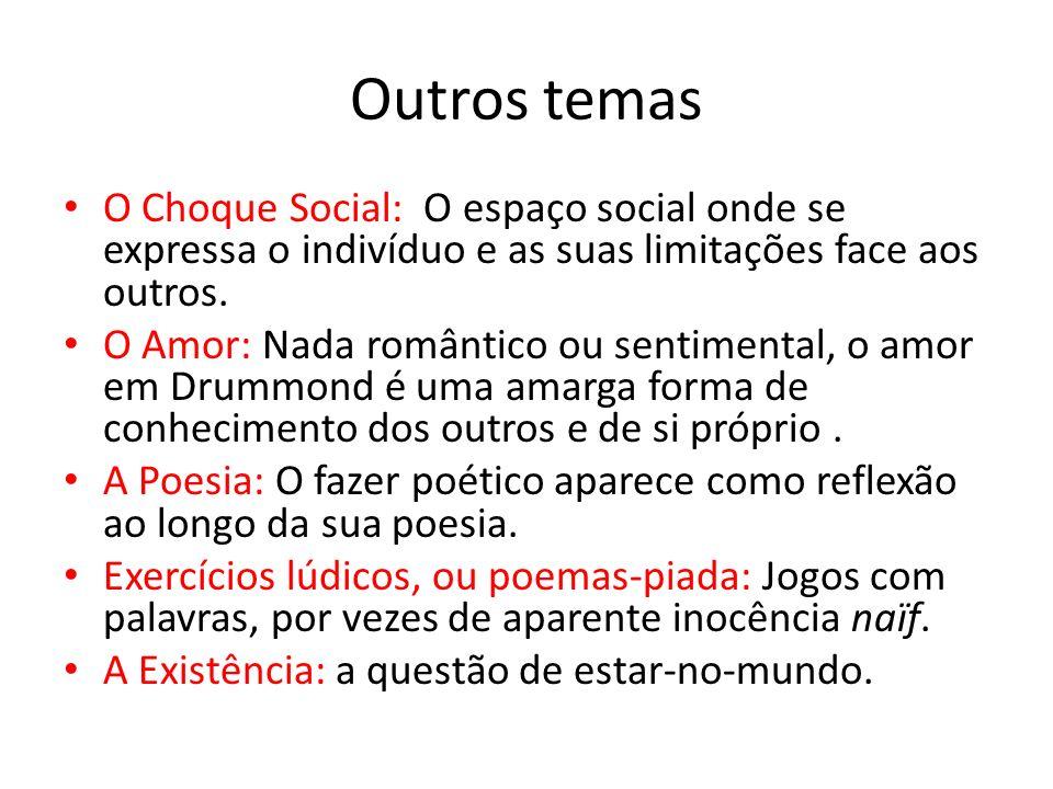 Outros temas O Choque Social: O espaço social onde se expressa o indivíduo e as suas limitações face aos outros.