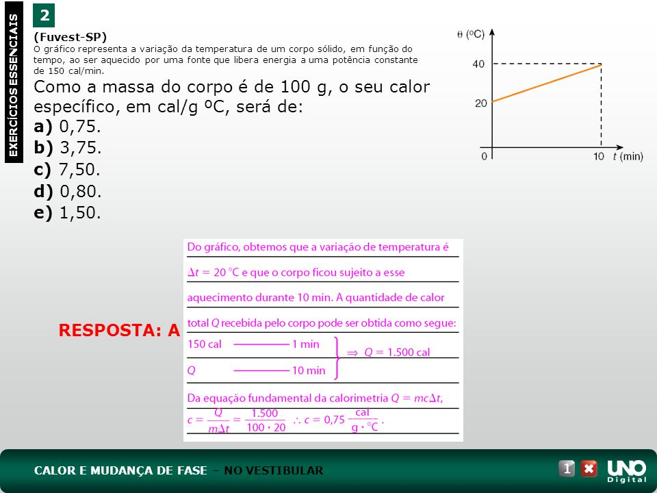 a) 0,75. b) 3,75. c) 7,50. d) 0,80. e) 1,50. RESPOSTA: A 2