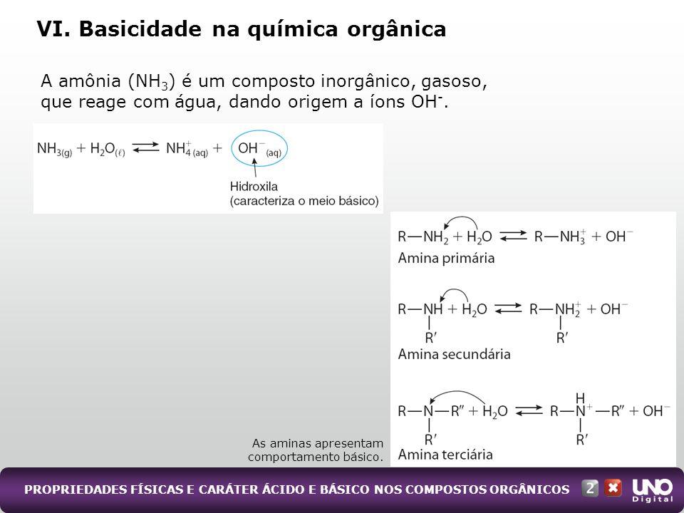 VI. Basicidade na química orgânica