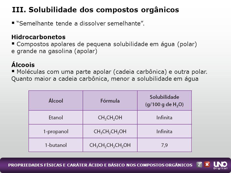 III. Solubilidade dos compostos orgânicos