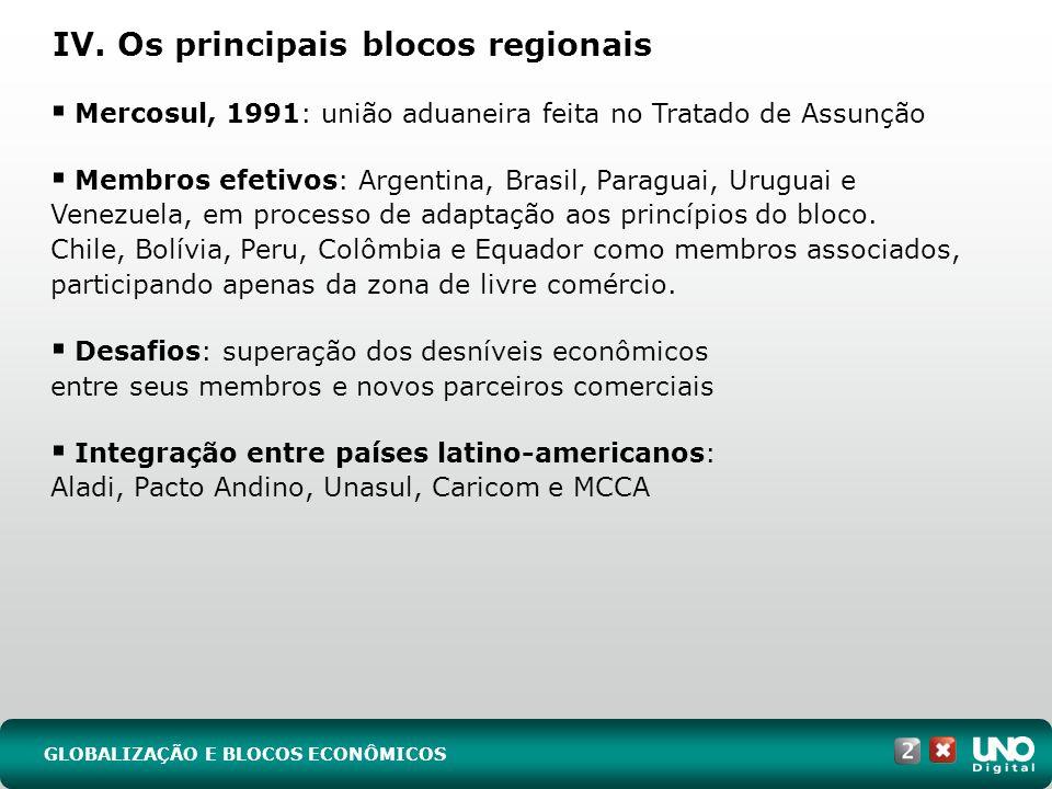 IV. Os principais blocos regionais