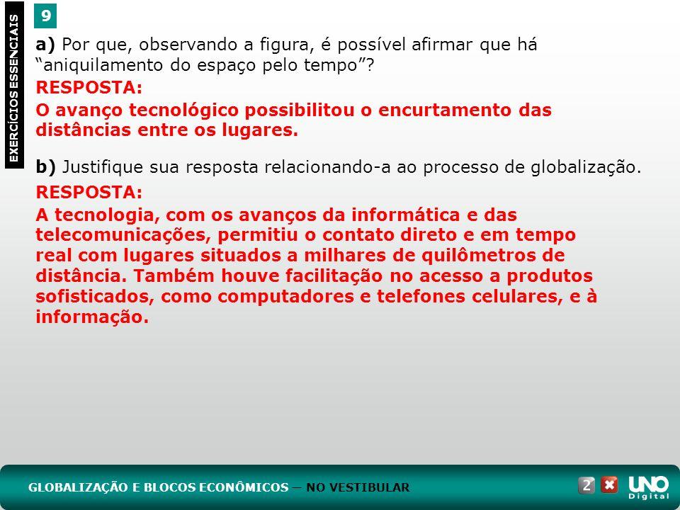 b) Justifique sua resposta relacionando-a ao processo de globalização.