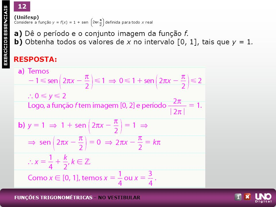 a) Dê o período e o conjunto imagem da função f.