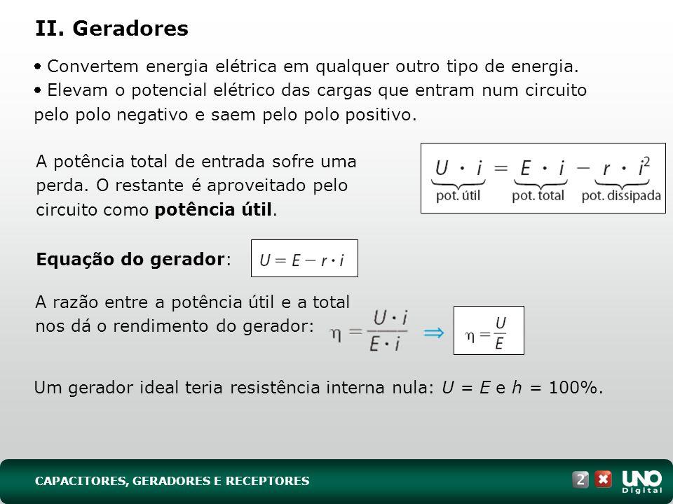 Um gerador ideal teria resistência interna nula: U = E e h = 100%.