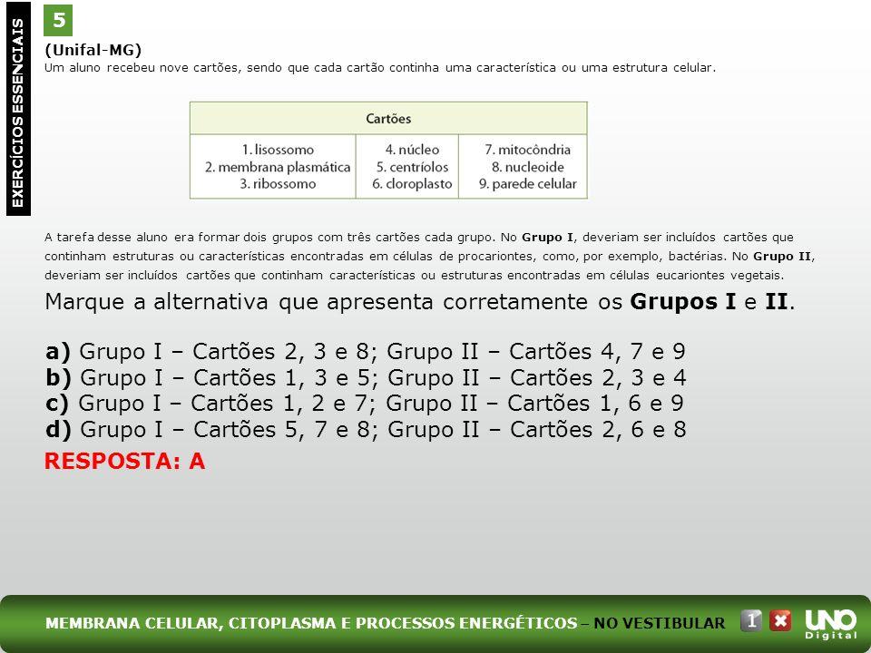 a) Grupo I – Cartões 2, 3 e 8; Grupo II – Cartões 4, 7 e 9