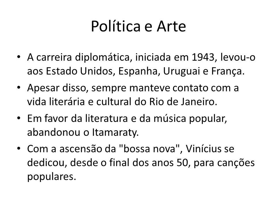 Política e Arte A carreira diplomática, iniciada em 1943, levou-o aos Estado Unidos, Espanha, Uruguai e França.