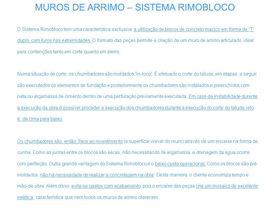 MUROS DE ARRIMO – SISTEMA RIMOBLOCO