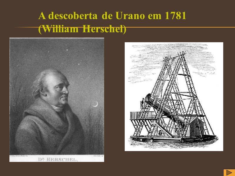 A descoberta de Urano em 1781 (William Herschel)