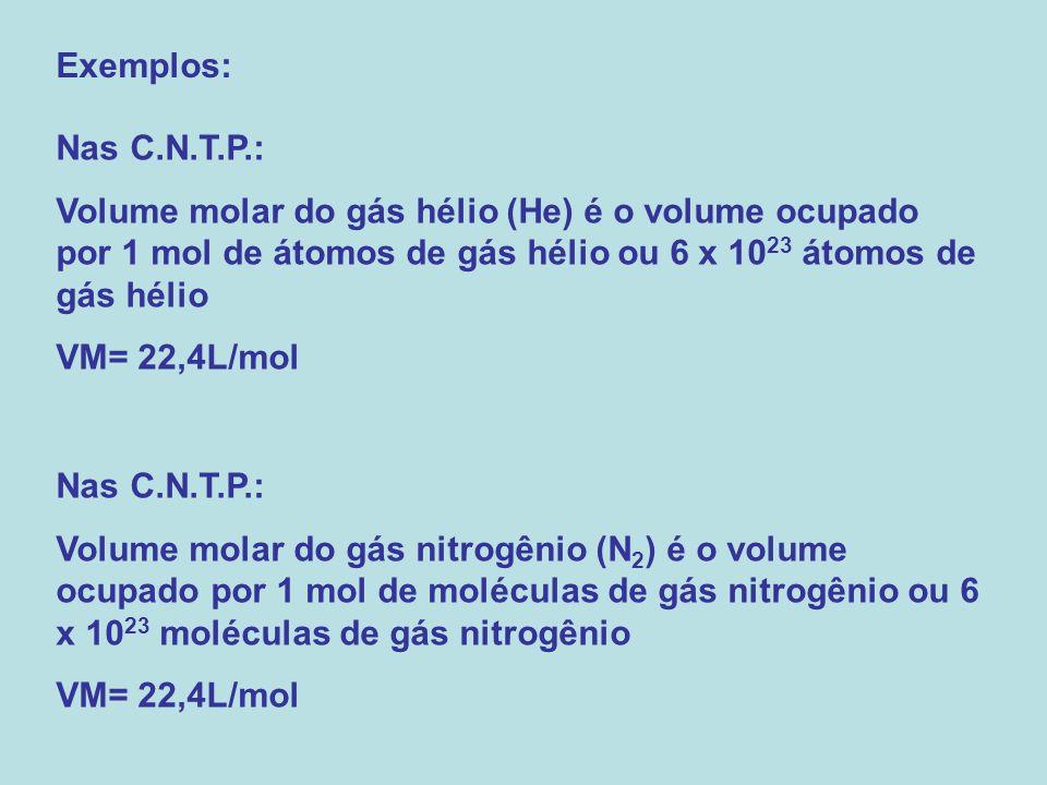 Exemplos: Nas C.N.T.P.: Volume molar do gás hélio (He) é o volume ocupado por 1 mol de átomos de gás hélio ou 6 x 1023 átomos de gás hélio.
