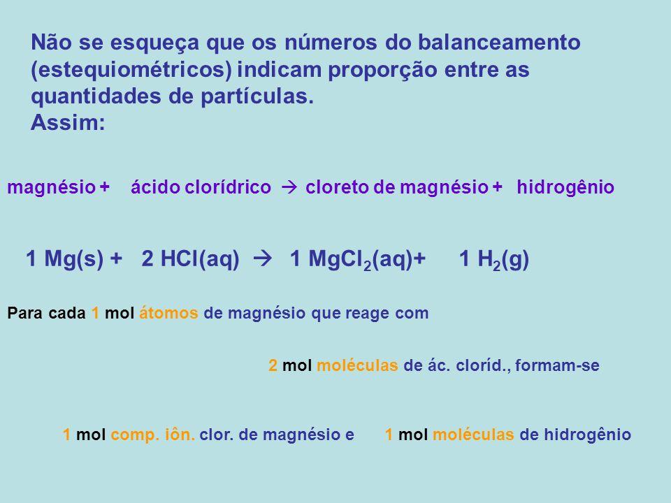 Não se esqueça que os números do balanceamento (estequiométricos) indicam proporção entre as quantidades de partículas.