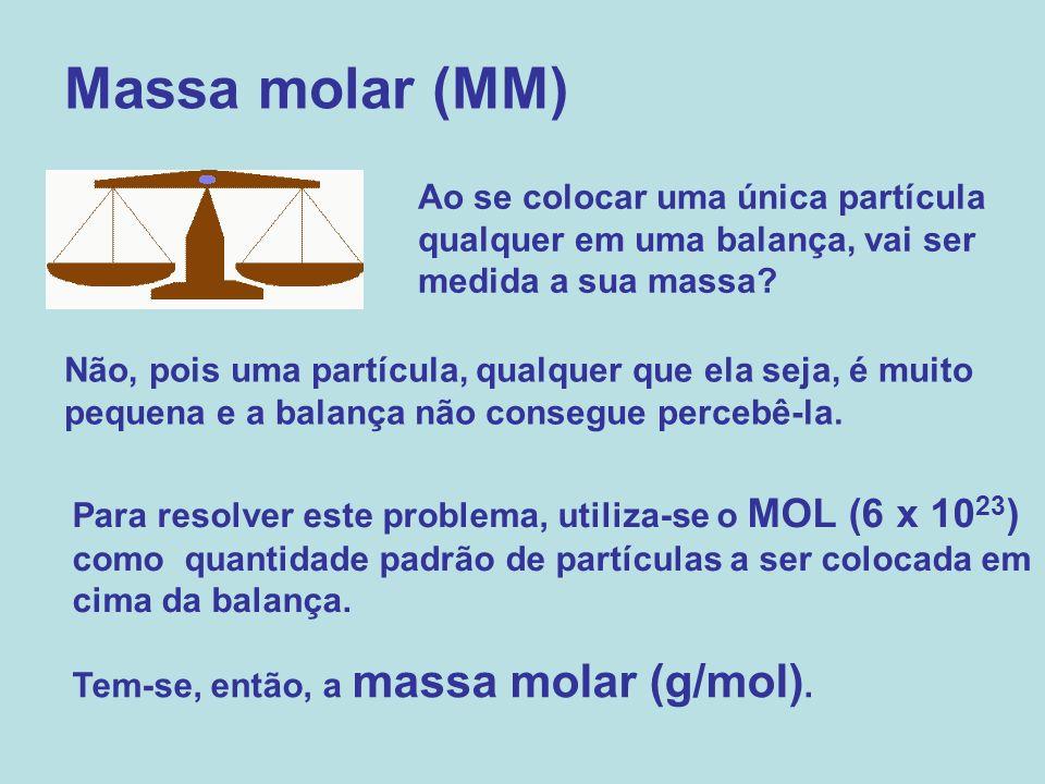 Massa molar (MM) Ao se colocar uma única partícula qualquer em uma balança, vai ser medida a sua massa