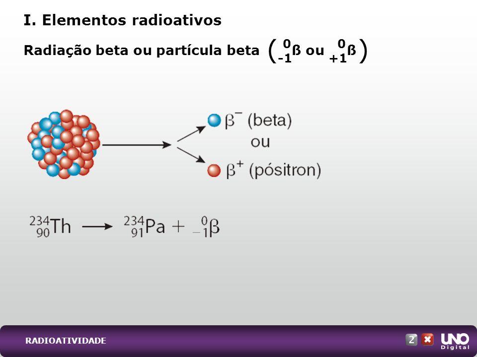 Radiação beta ou partícula beta ß ou ß