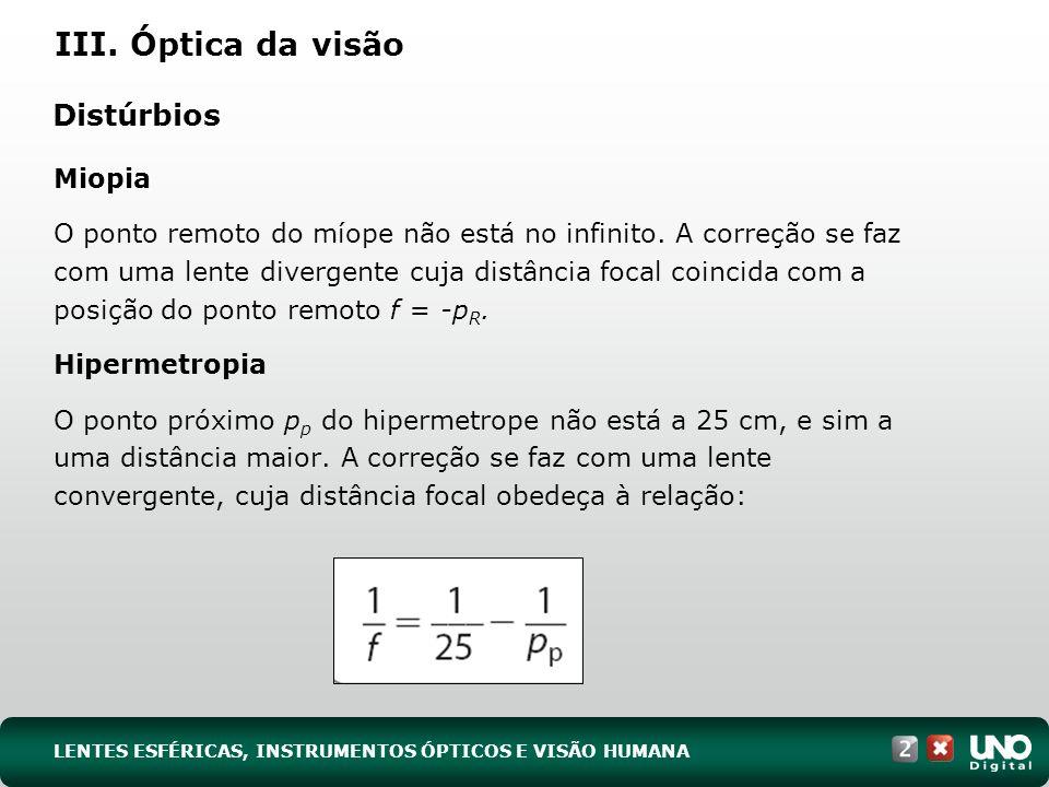 III. Óptica da visão Distúrbios
