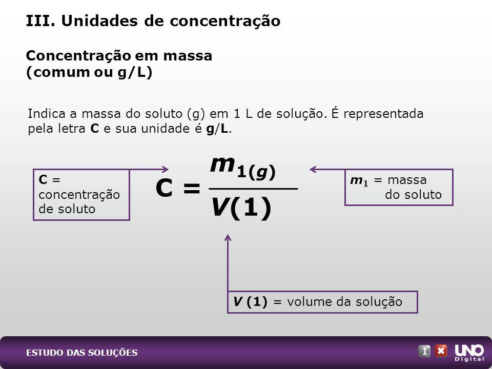 Concentração em massa (comum ou g/L)