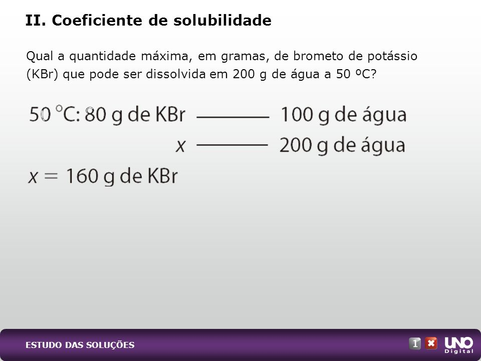 II. Coeficiente de solubilidade