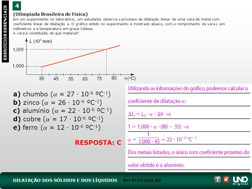 a) chumbo ( = 27 . 10-6 ºC-1) b) zinco ( = 26 . 10-6 ºC-1)