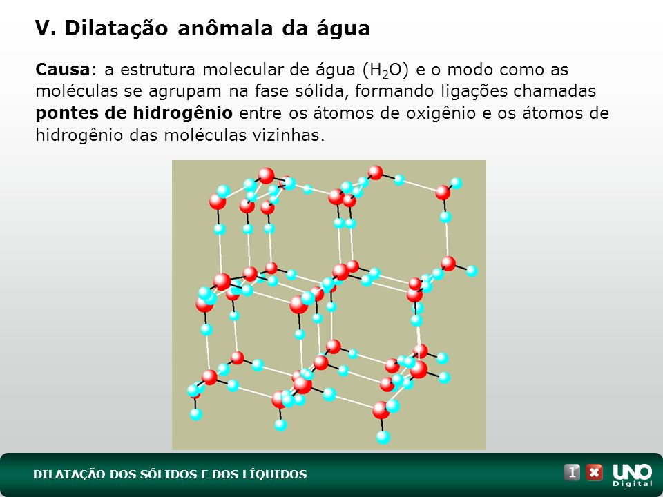 V. Dilatação anômala da água