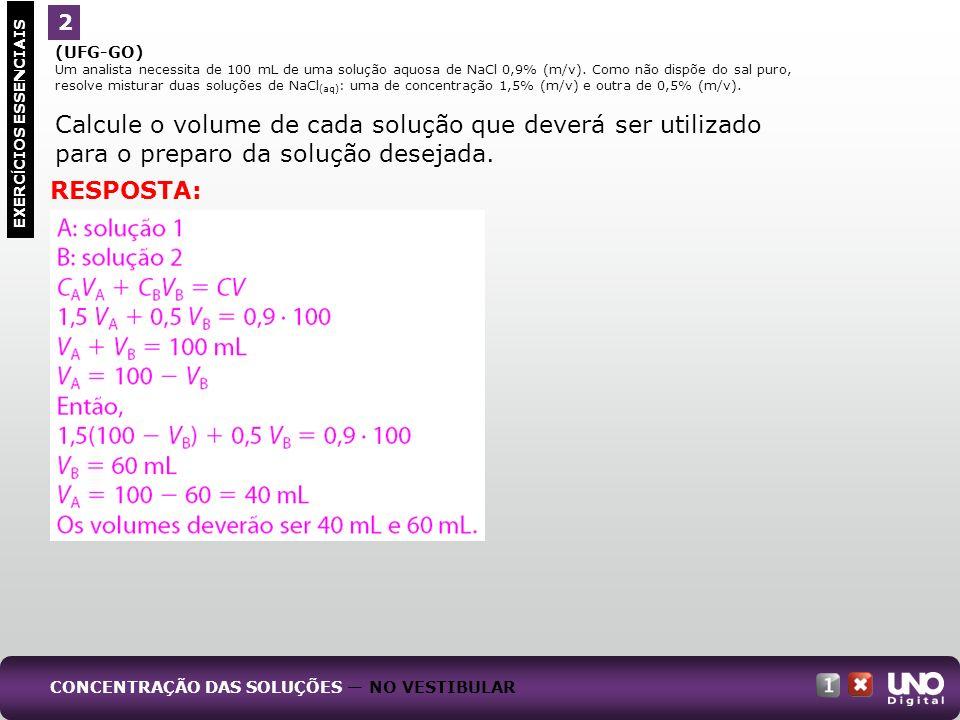 Calcule o volume de cada solução que deverá ser utilizado