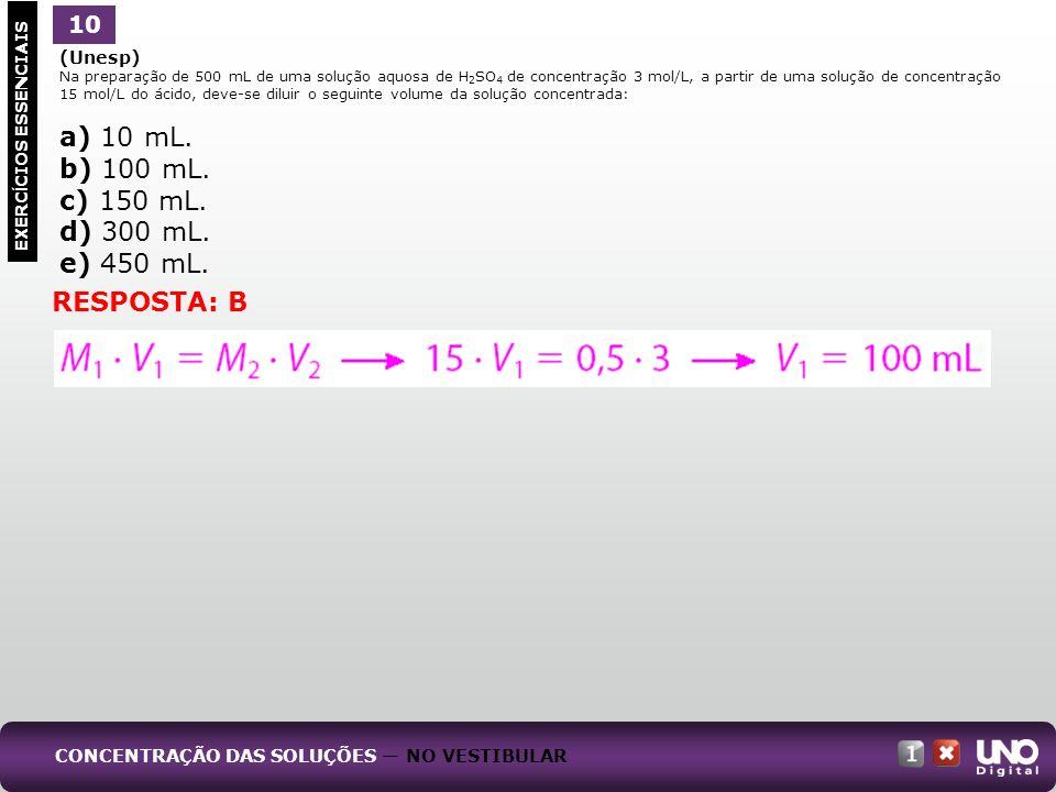 a) 10 mL. b) 100 mL. c) 150 mL. d) 300 mL. e) 450 mL. RESPOSTA: B 10