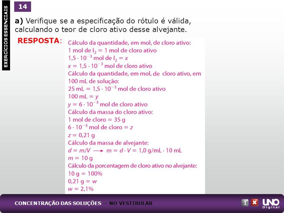 Qui-cad-1-top-5 – 3 prova 14. a) Verifique se a especificação do rótulo é válida, calculando o teor de cloro ativo desse alvejante.