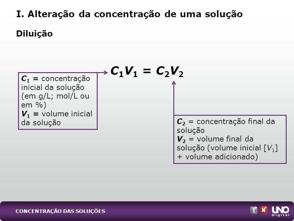 C1V1 = C2V2 I. Alteração da concentração de uma solução Diluição