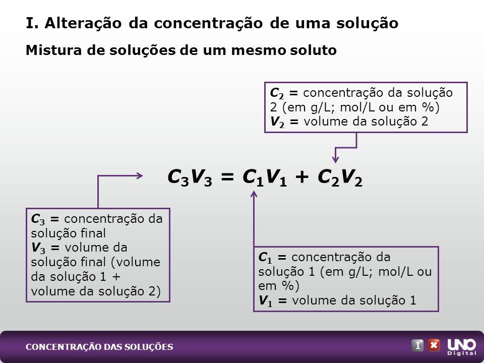 C3V3 = C1V1 + C2V2 I. Alteração da concentração de uma solução