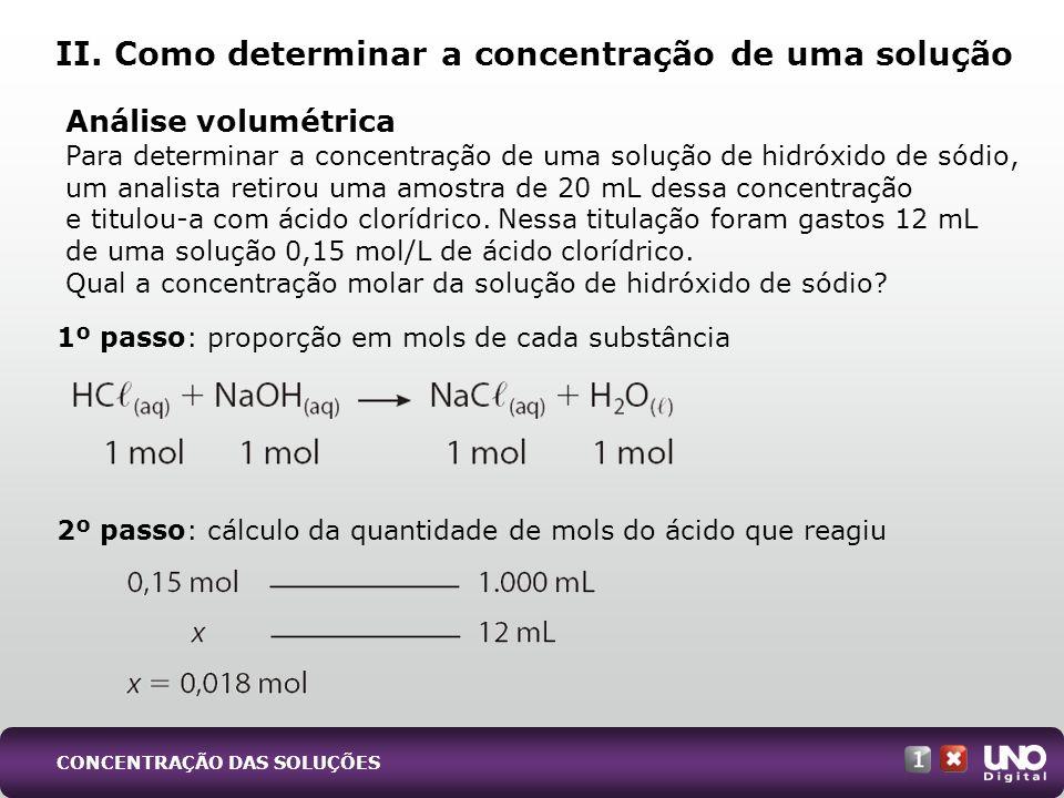 II. Como determinar a concentração de uma solução