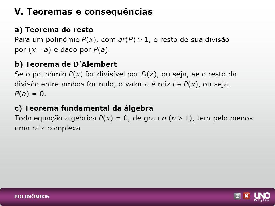 V. Teoremas e consequências