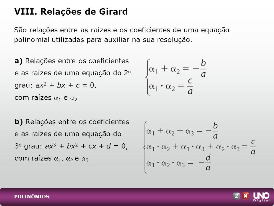 VIII. Relações de Girard