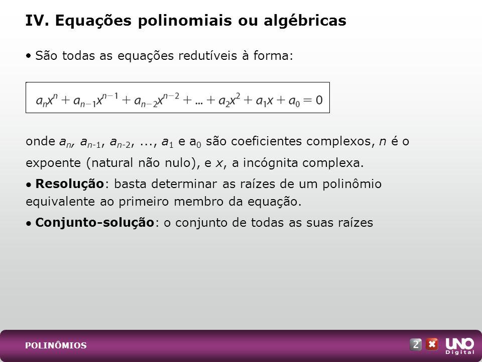 IV. Equações polinomiais ou algébricas